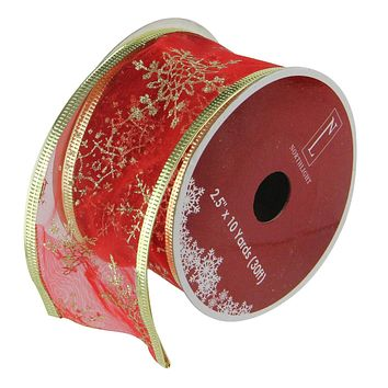 "Cranberry Red and Gold Glitter Snowflakes Wired Christmas Craft Ribbon 2.5"" x 10 Yards"