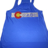 COLORADO Flag in Glittery on Tanktop Incorporated  with Broncos Avalanches Nuggets Rockies Super Sparkly Denver Womens NFL Nba Mlb Nhl