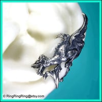Griffin with wings silver ear cuff earring - 071312 dragon earcuff Left