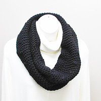 Large Unisex Black Crochet Infinity Circle Scarf
