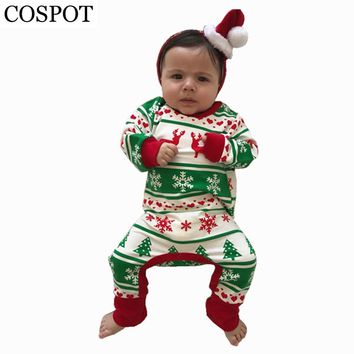 COSPOT Baby Girls Christmas Reindeer Romper Infant Boys Cotton Jumpsuit Cute Xmas Rompers for Newborns Toddler Pajamas 2017 30F