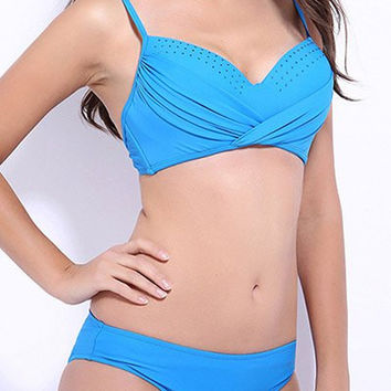 Spaghetti Strap Twist Bikini with Dot Design