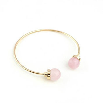 Gold Bangle, Rose Quartz, Gemstones, Jewelry, Bridal Jewelry, Gifts for Her, Geometric, For Her, Minimalist Jewelry, Gold, Modern Jewelry