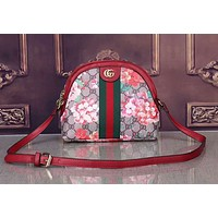 Gucci Women Shopping Bag Shoulder Bag Red Flower Print Leather Crossbody Satchel I-LLBPFSH