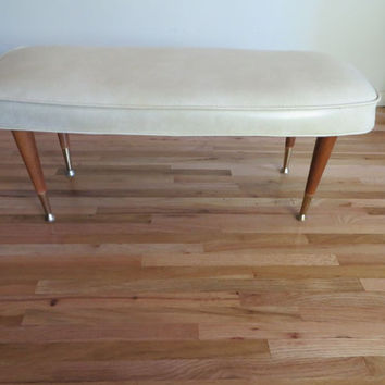 Mid Century Modern Bench Bench Seat Cream and Wood