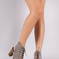 Qupid Perforated Lace-Up Chunky Mule Heeled Booties