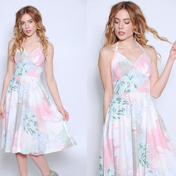 Vintage 70s FLORAL Sundress PASTEL Halter Dress PRINTED Summer Sun Dress