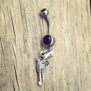 Pistol Gun Dangle Belly Button Ring with black cz stone Silver Surgical Steel Naval Body Jewelry 14 gauge