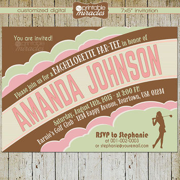 Retro Bachelorette party invitation, Golf theme part-tee invite card,  Bachelorette invitation / customized, digital, pink green