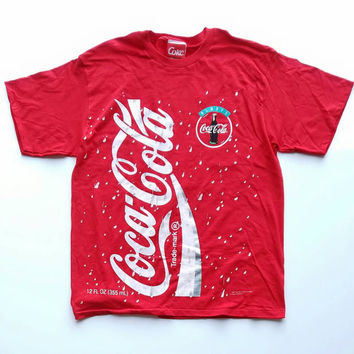 Coca-Cola Soft Drink T-Shirt, 90s AD Tee, Oversized, Red