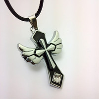 New Arrival Gift Jewelry Shiny Stylish Hot Sale Cross Rack Crystal Accessory Men Pendant Couple Necklace [6526588611]