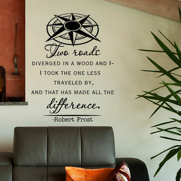 Robert Frost Wall Decal Quote Two Roads Diverged Wall Decals Vinyl Lettering Travel Nautical Compass Living Room Bedroom Office Decor Q142