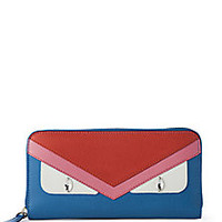 Fendi - Monster Multicolor Embellished Saffiano Leather Zip Continental Wallet - Saks Fifth Avenue Mobile