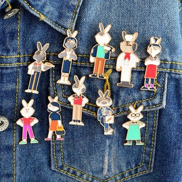 Trendy Miss Zoe Cute rabbit wearing clothes job chef waiter Brooch Denim Jacket Pin Buckle Shirt Badge Cartoon Jewelry Gift for Girls AT_94_13