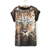 ST1094 New Fashion Ladies' sexy Leopard tiger pattern short sleeve blouses shirt O neck casual slim brand designer tops