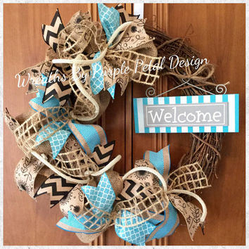 Spring Burlap Wreath | Summer Burlap Wreath | Grapevine Wreath | Spring Wreath | Welcome Wreath | Summer Wreath | Mothers Day Gift