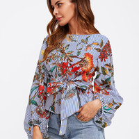 Exaggerated Lantern Sleeve Belted Mixed Print Blouse -SheIn(Sheinside)