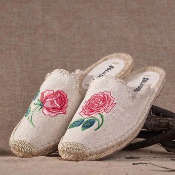 Soludos Women Slipper Rose Embroidery Espadrilles Shoe | Best Deal Online