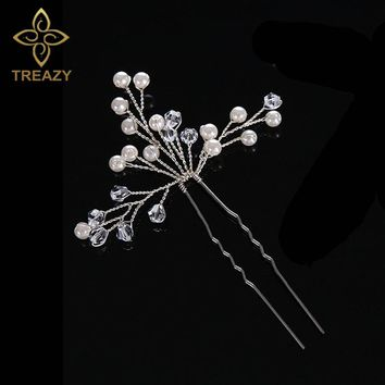TREAZY Bridesmaid Bridal Imitation Pearl Crystal Floral Hairpin Handmade Wedding Hair Accessories Headpiece Veil Hair Jewelry