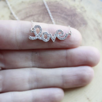 Cubic Zirconia Love Necklace - Love Pendant . Gift for Girlfriend . CZ Jewelry . Cursive Love Necklace . Silver Love Necklace