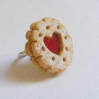 Scented or Unscented Jammy Heart Biscuit Cookie Miniature Food Ring - Miniature Food Jewelry
