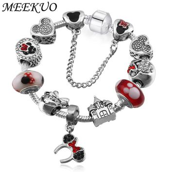 MEEKUO Sliver Plated Mickey European Charm Bracelets& Bangles Doll Castle Fit Pandora Bracelets For Child Gift Jewelry