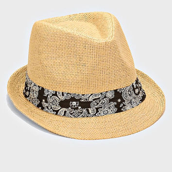 Womens Beige Straw Fedora Hat Black Paisley Band Accent Beach, Pool, Vacation, Summer Hat