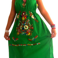 Frida Green mexican embroidered strapless boho dress