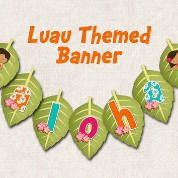 "Aloha Luau Birthday Party Banner, ""ALOHA"", digital file, you-print"