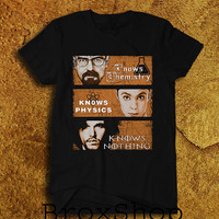 New Game Of Thrones: Big Bang Theory Vs Breaking Bad Knows Vs Chemistry Physics,Nothing,Walter,Funny, Printed Shirt Geek Hipster Unisex Size
