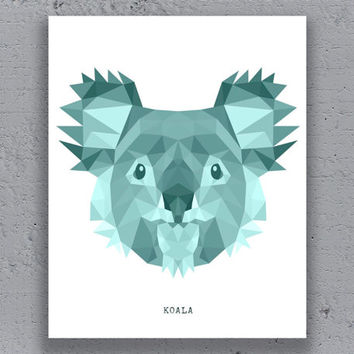 Koala Print Printable Typography Poster Geometric  Cyan Print Wildlife Polygon Animal Art Retro Art Print Instant Download Digital Print