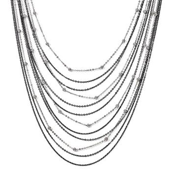 Two Tone Beaded Multi Strand Necklace in Sterling Silver, 24-26 Inch