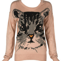 Pink Contrast Cute Cat Knitted Sweater