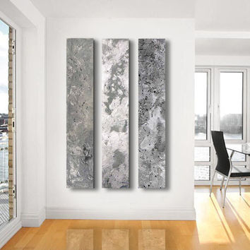 Metallic Abstract Paintings 3 Panel From Twistofunique