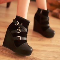 Women Wedges Ankle Boots High Heels Buckle Platform Shoes Woman 2016 3572
