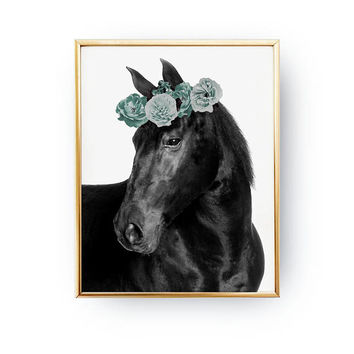 Black Horse Print, Flower Crown, Boho Desert, Horse Illustration, Animal Print, Watercolor Art, Bohemian Art, Hippie Decor, Minimal Print