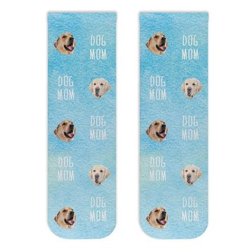 Custom Photo Socks -  Dog Mom with Dog Faces Digitally Printed on Cotton Crew Socks