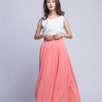 Chiffon Maxi Skirt High Waist Long Skirt Beautiful Pleated Waist Summer Skirt Floor Length Women Skirt (401) ,Pink