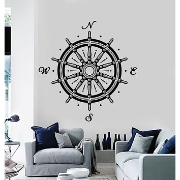Vinyl Wall Decal Ship's Wheel Compass Wind Rose Nautical Decor Stickers Mural (g1122)