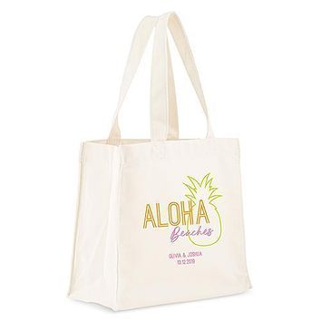 Personalized White Canvas Tote Bag - Aloha Beaches Tote Bag with Gussets (Pack of 1)