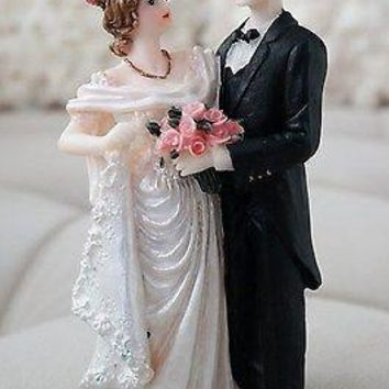 Vintage Bride and Groom Cake Topper Romantic Drapped Wedding Dress