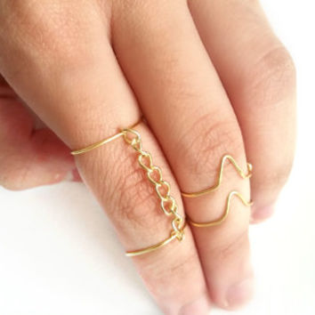 Knuckle Ring - Midi Ring - Midi ring set - Knuckle ring set - Ring set - Wire ring - Chain midi ring - Bohemian ring - Boho jewelry