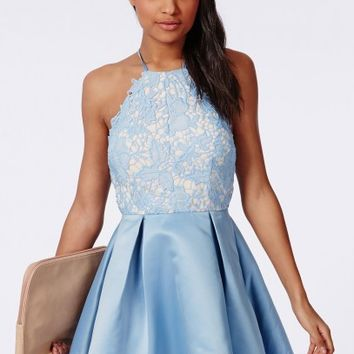 Missguided - Lace Halterneck Skater Dress Powder Blue