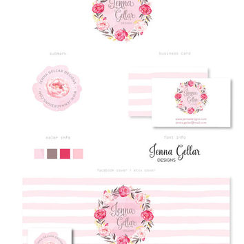 Branding Kit, Watercolor flower, Stripes, Cover photo, Watermark, Business Card, Premade Marketing Package