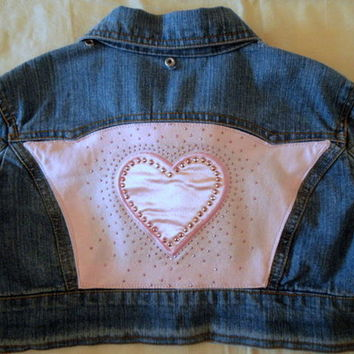 Girl's Upcycled Denim Jacket Pink Heart & Sparkles