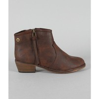Brown Leatherette Ankle Boots