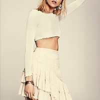 Free People Womens Hold the Line Skirt - Sand,