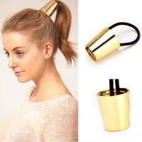 Fashion Punk Rock Metal Circle Ring Hair Elastic Rubber Rope Wrap Ponytail Holder Hair Bands Accessories Alloy Round Scrunchy