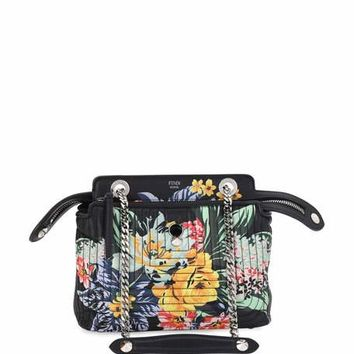 Fendi Dotcom Click Small Floral Quilted Chain Shoulder Bag, Black/Multi