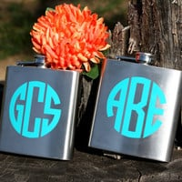 Set of 11 - Personalized 6oz Flasks - Stainless Steel - Perfect for Groomsmen Gifts, Best Man, Bridesmaid Gifts, Maid of Honor Monogram